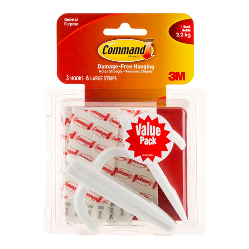 3M Command Hook 17003-VP-3PK Value Pack White