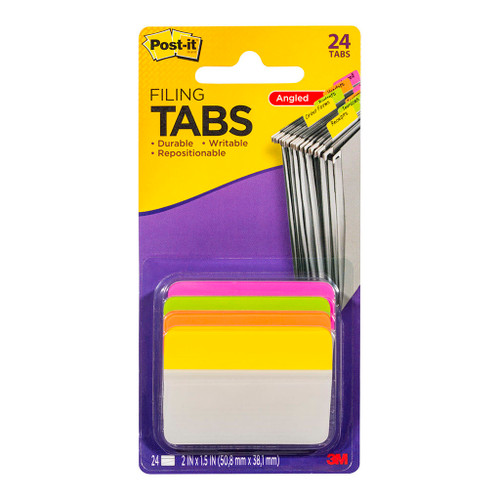 3M Post-It Filing Tab Durable 686A-PLOY Pink Lime Orange Yellow Angled 50mm