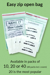 Your shoe labels and covers will come packed together in the same bag.  There are 3 options to choose, a pack of 10, 20 or 40 shoe labels.