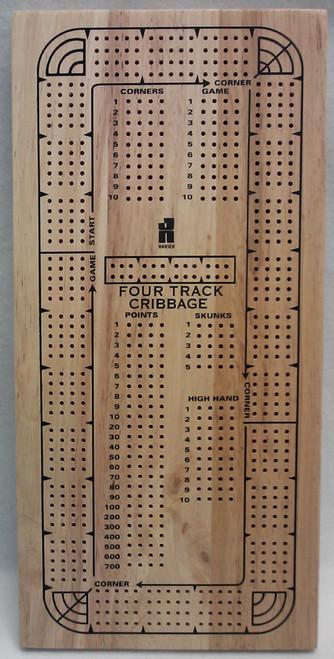 4 Track Cribbage Board - Card Game
