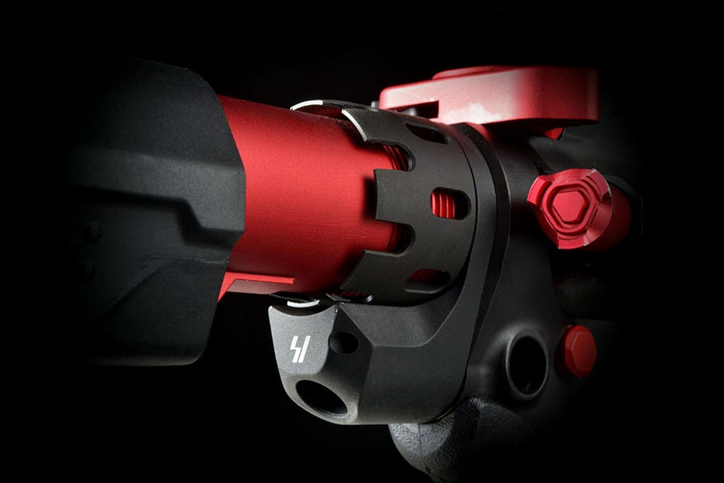 Strike Industries AR-15 Enhanced Castle Nut & Extended End Plate Red