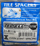 "1/16"" Regular Spacers 300/BAG"