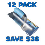 "1/4"" Square Notch Stainless Steel Trowel - 12 Pack"