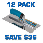 "11/64"" Square Notch Stainless Steel Trowel - 12 Pack"