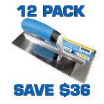 "3/16"" V Notch Stainless Steel Trowel - 12 Pack"