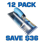 "3/8"" Square Notch Stainless Steel Trowel - 12 Pack"