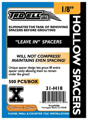 "Hollow ""Leave In"" Spacers 1/8"" 500 pcs"