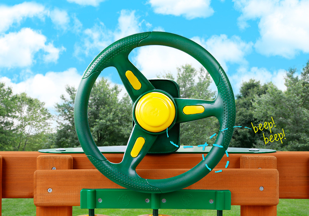 Outdoor front view of Rally Racing Wheel with working horn from Gorilla Playsets.