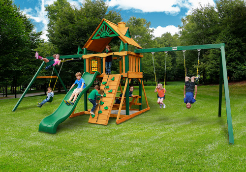 Outdoor shot of Chateau Duo Space Saver Playset from Gorilla Playsets