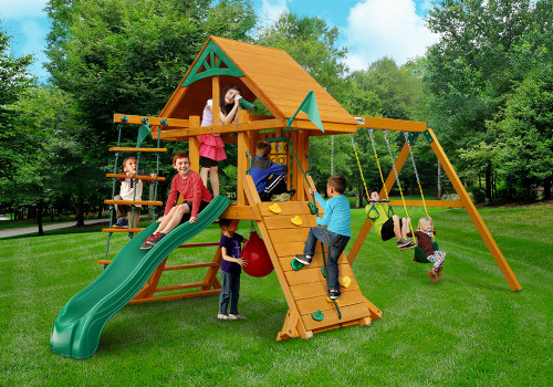 Outdoor shot of High Point Deluxe Playset from Gorilla Playsets