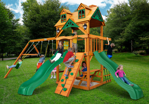 Outdoor shot of Woodmont Playset from Gorilla Playsets