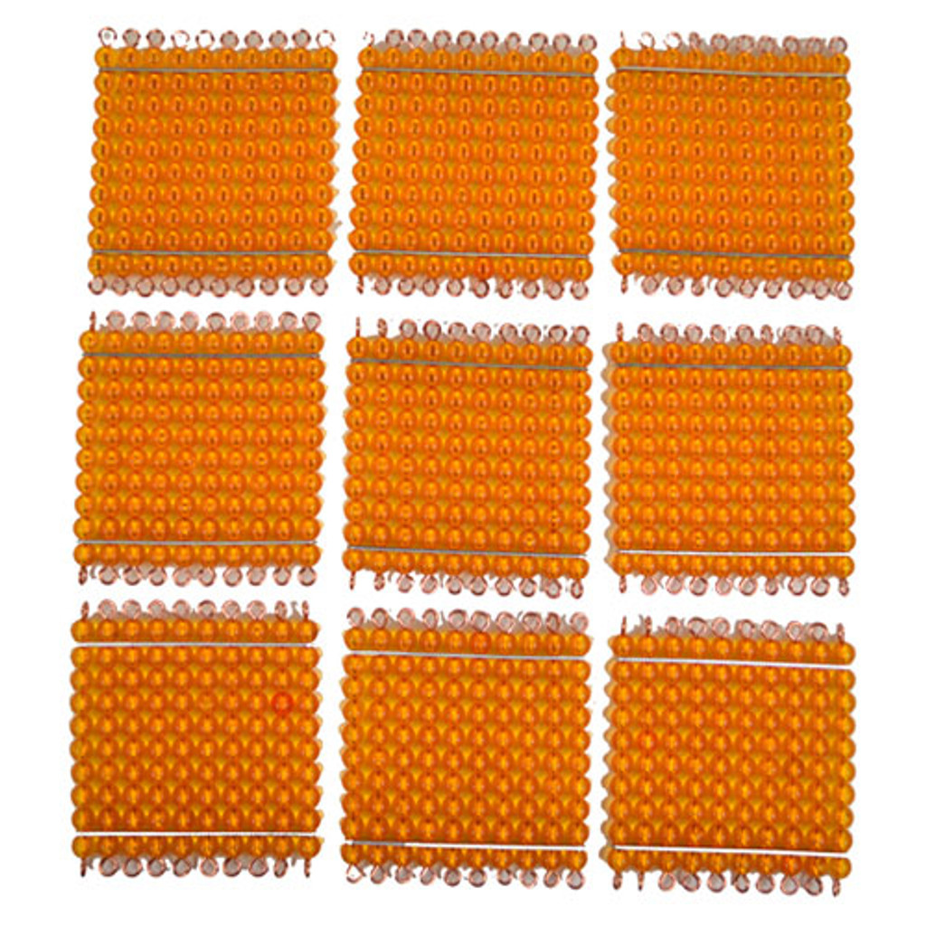 Golden Bead Hundred Squares (set of 9)