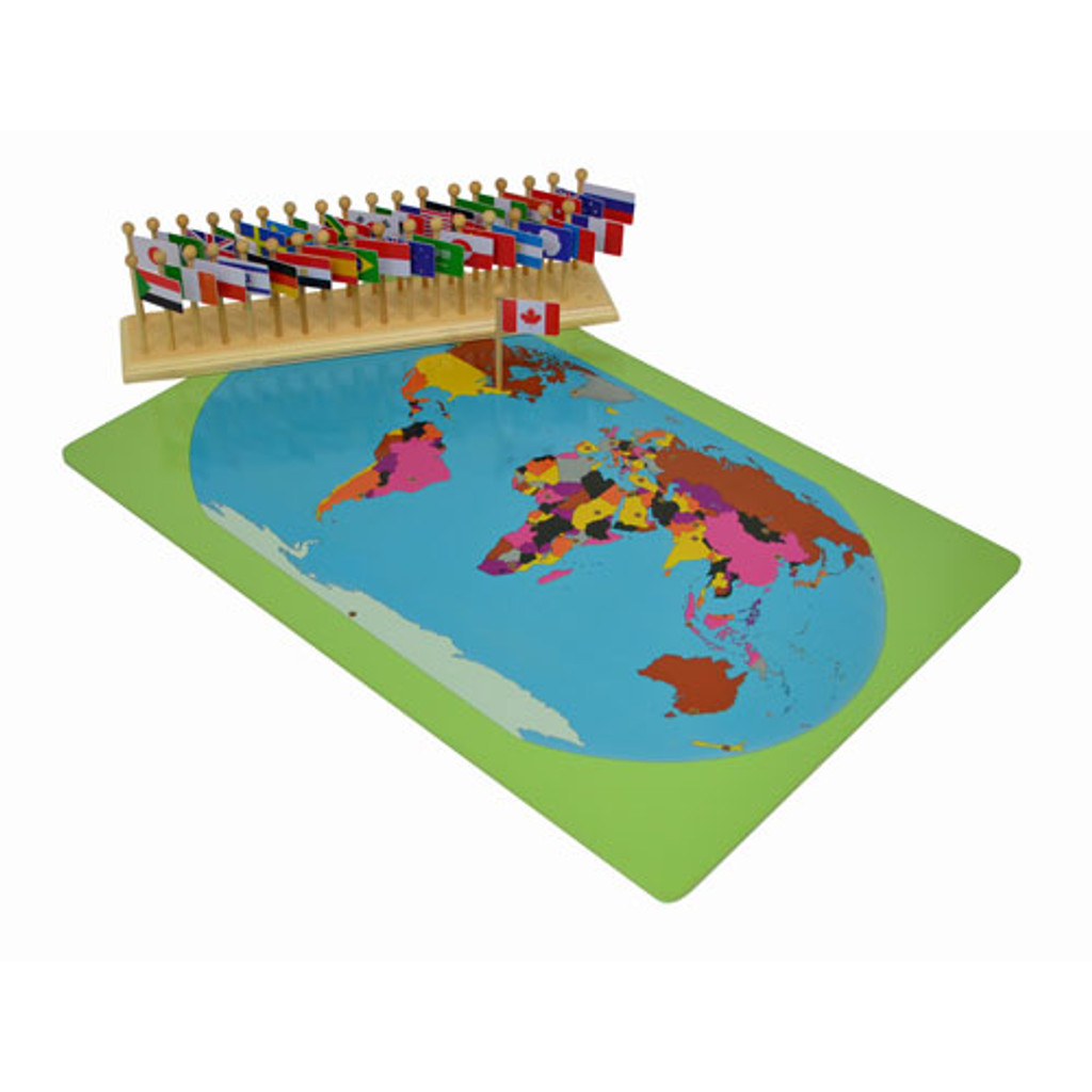 World map with flags montessori materials thinkamajigs world map with flags gumiabroncs Image collections