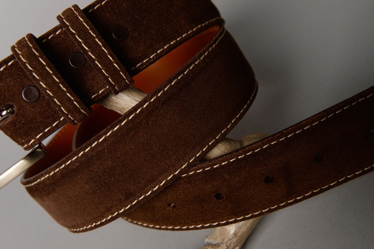 Suede calfskin belt - Chocolate