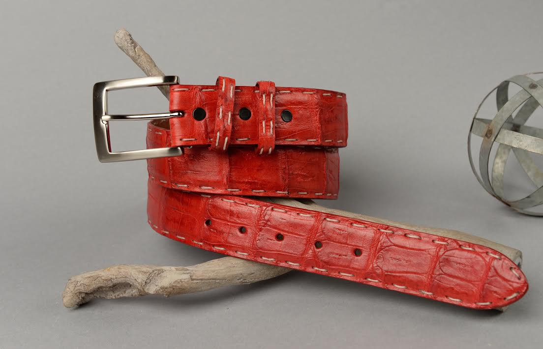 Matte Caiman Red With White Pick Stitch and Red Edge.   ( More stitch and edge options in build your unique lizard belt )