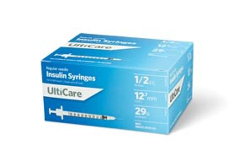 "9259 UltiMed, Inc. Insulin Syringe, 1/2cc, 29G x  1/2"", 100/bx Sold as bx"