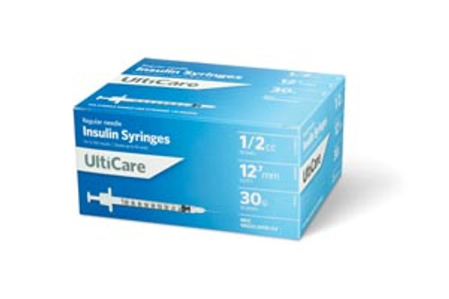 "9355 UltiMed, Inc. Insulin Syringe, 1/2cc, 30G x  1/2"", 100/bx Sold as bx"