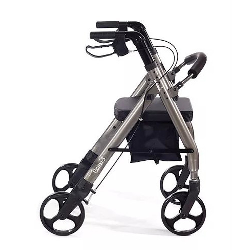 Comodita Prima Heavy-Duty Rolling Walker Rollator with Comfortable 15-Inch Wide Nylon Seat