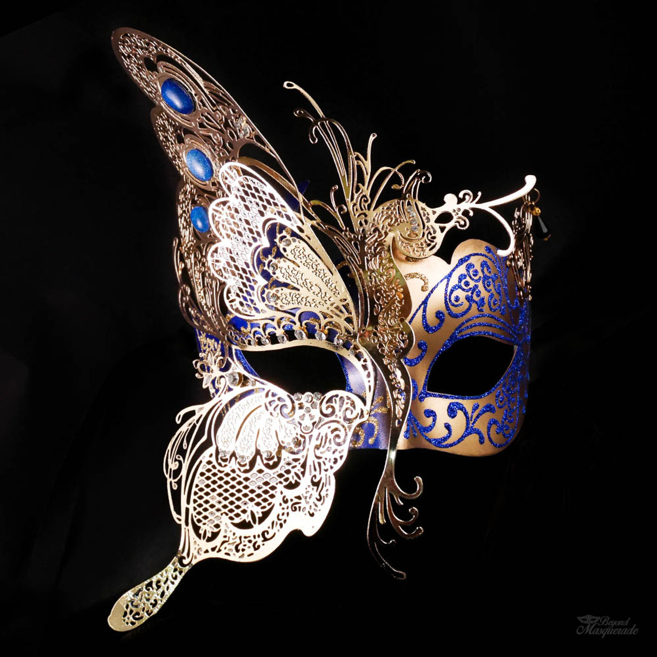 butterfly masquerade mask gold blue m7103 beyondmasquerade