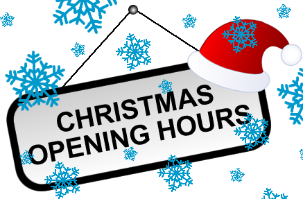 Christmas & New Years Opening Hours 2016