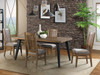 "Urban Rustic 66"" fixed table with slat back upholstered chairs. Distressed pine finish on contemporary styling with metal accents"
