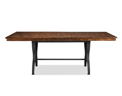 The District Gathering Table •Industrial style collection featuring cast metal details •Table features cable driven ball bearing slides for easy open and close to access self-storing leaf •Solid knotty birch gathering table with cast metal base