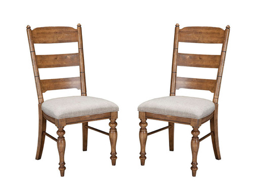 LH-CH-1149C-BSD- Lake House Ladder Back Side Chair Spindle and ladder back chair and barstool options allow you to customize your dining set •Chairs and stools come with elegant linen style fabric on comfortable seat cushions •Barstools feature protective metal plate on front stretcher for style and durability