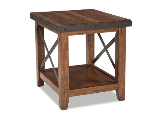 Taos Chairside •Constructed from solid Pine and Pine veneers with select hardwoods and metal accents •Coffee and side tables have metal stretcher for increased durability and aesthetic design •Coffee table available either with or without caster iron wheels Table