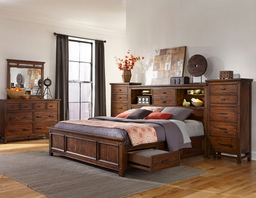 •Rustic style beds made for Acacia and Select Hardwoods with a hand scraped Vintage Acacia finish •Optional storage bed rails. •Bookcase and panel headboards available •Stand alone bookcase headboard features a centered sliding door and halogen touch light. •Storage drawers include 5 piece construction with full extension heavy drawer slides   Collection Features:  The Wolf Creek Collection by Intercon adds rustic beauty to your home with its unique hand scraping and Vintage Acacia finish. Unlimited amounts of storage capacities and hidden media functions throughout the bedroom pieces will create a bedroom that is free of clutter and full of serenity. Shown with Pier Cabinets for added storage.