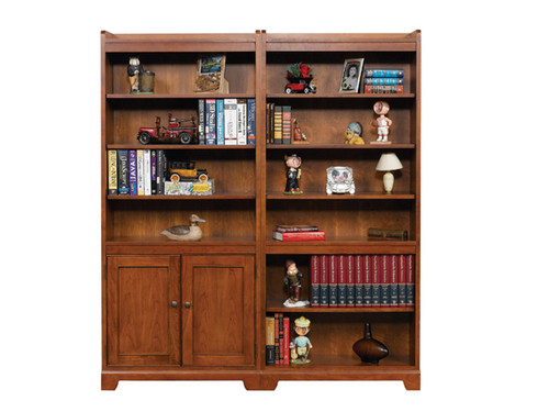 "Topaz 72"" door bookcase with recessed panel doors or open bookcase"