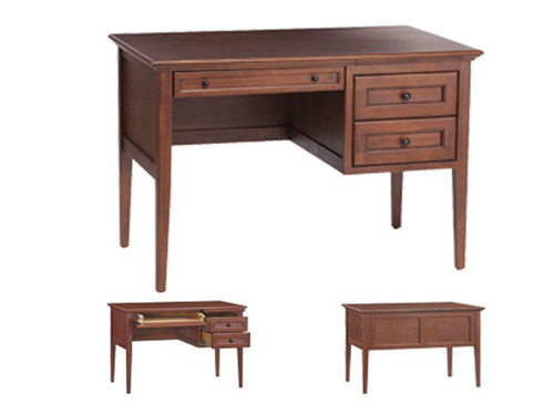 "3 Drawer McKenzie Desk (45"" W x 26""D x 29.5""H) Spacious plank top. Pull-out with touch latch provides extra work space. Center utility drawer features a drop front & cord access for keyboard. 2 large supply drawers."