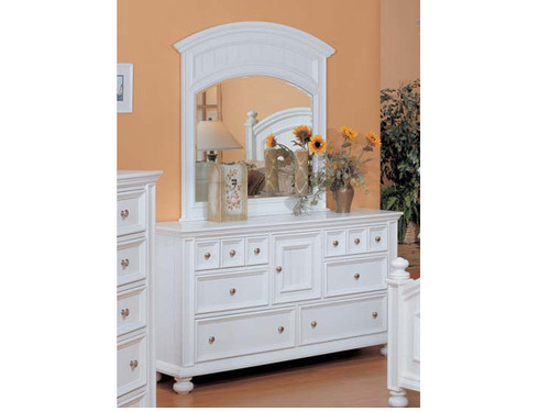 Cape Cod Eggshell White Dresser and Mirror