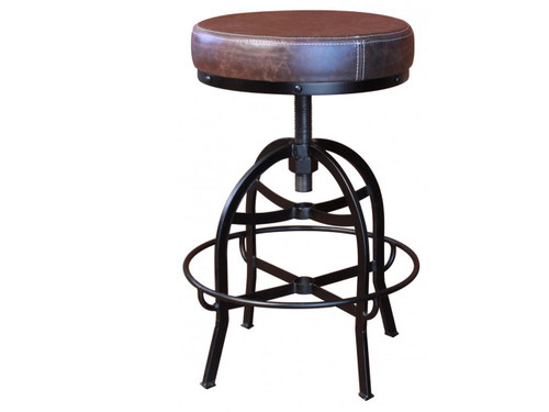 """Cushioned metal barstool. Faux leather seat.  Swivel adjusts from counter height 24"""" to bar height 30"""""""