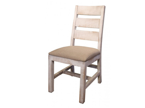 Rustic White Ladder back chair with cushioned fabric seat.