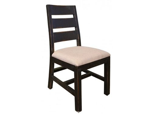 Rustic Black ladder back Upholstered seat chair