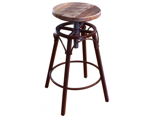 Iron and antique multi-colored wood swivel barstool.
