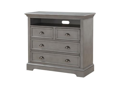 "4 drawer, 44"" TV chest Gray"