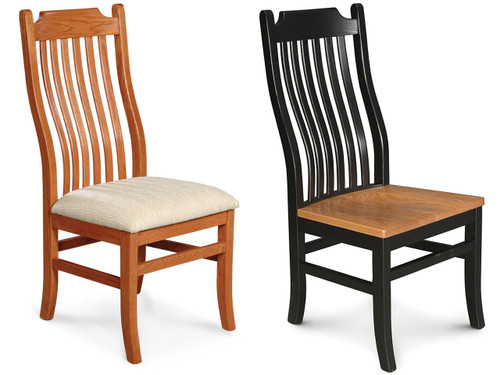 Urbandale Chair shown in #1 Amber Glow Oak with upholstered cushion and 2-toned in black with an Oak wood seat.