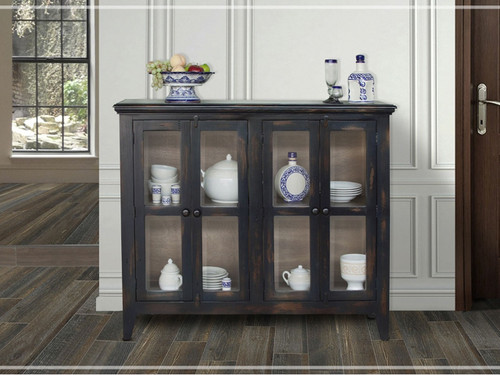 Antique Console With 4 Glass Panel Doors Blue