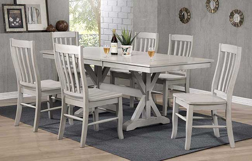 """Carmel 78"""" table and chairs in Gray"""