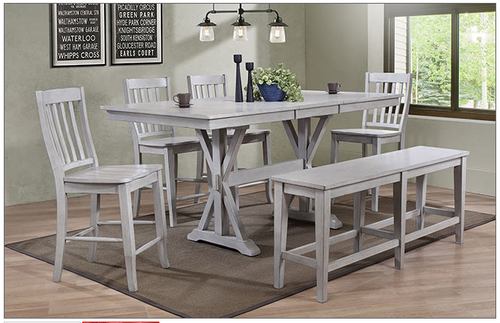 "Carmel Counter high 78"" table and chairs in grey"