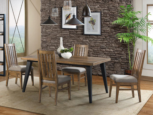 """Urban Rustic 66"""" fixed table with slat back upholstered chairs. Distressed pine finish on contemporary styling with metal accents"""