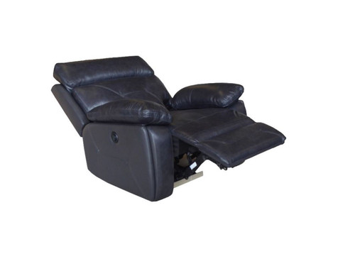 Capri Power Recliner made of Genuine Leather in Black or Beige (shown in black)