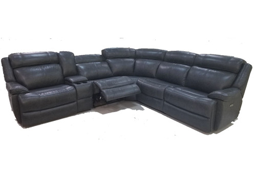 Avalon Power Reclining sectional. Power headrest and power lumbar. Available as Sectional, sofa, love seat and reclining chair in your choice of 2 colors: latte or smoke Shown in Smoke
