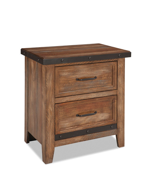Taos One Drawer Nightstand tudded metal detailing for distinctive unique design •Option of one drawer nightstand with metal drawer or standard two drawer nightstand •Nightstand features built-in USB port for convenient charging