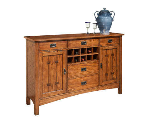 Oak Park Server •Full extension, felt-lined drawers with dovetail construction •Cabinet doors have adjustable shelving •Authentic Mission style hardware and joint detailing •Removable bottle storage area