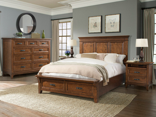 Get this Silo Mansion Bed, dresser and 2 nightstands for $1999 while inventory lasts. Free entertainment console with purchase of bedroom set while supplies last.