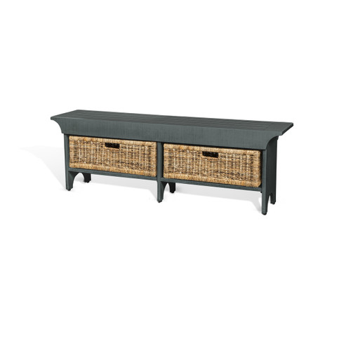 Short Blue Accent Bench with Basket
