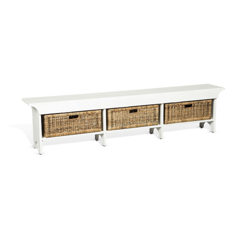 """78"""" White Accent Bench with Basket"""