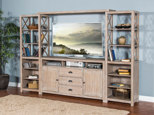 "Mountain Ash Entertainment Wall Unit  66"" TVConsole 24"" Piers  and Bridge"